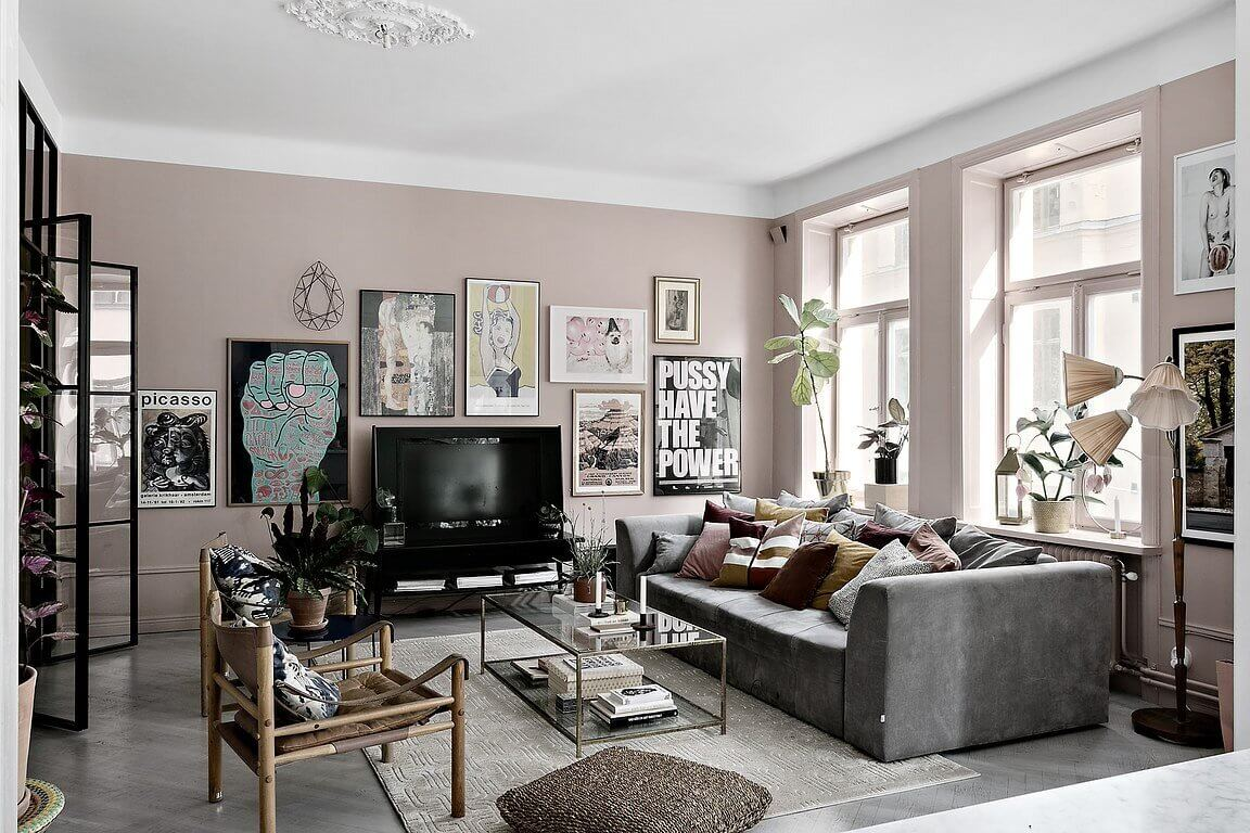 A Scandinavian Apartment in Muted Pink & Grey Tones