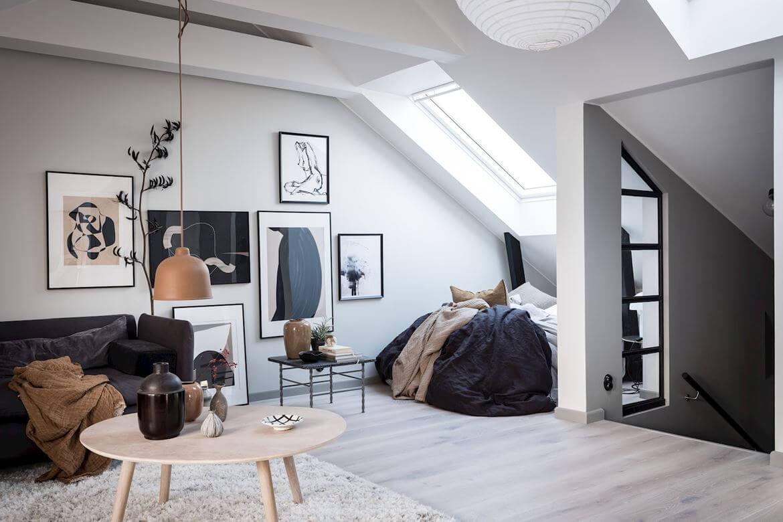 A Light-Filled Scandinavian Attic Studio Apartment
