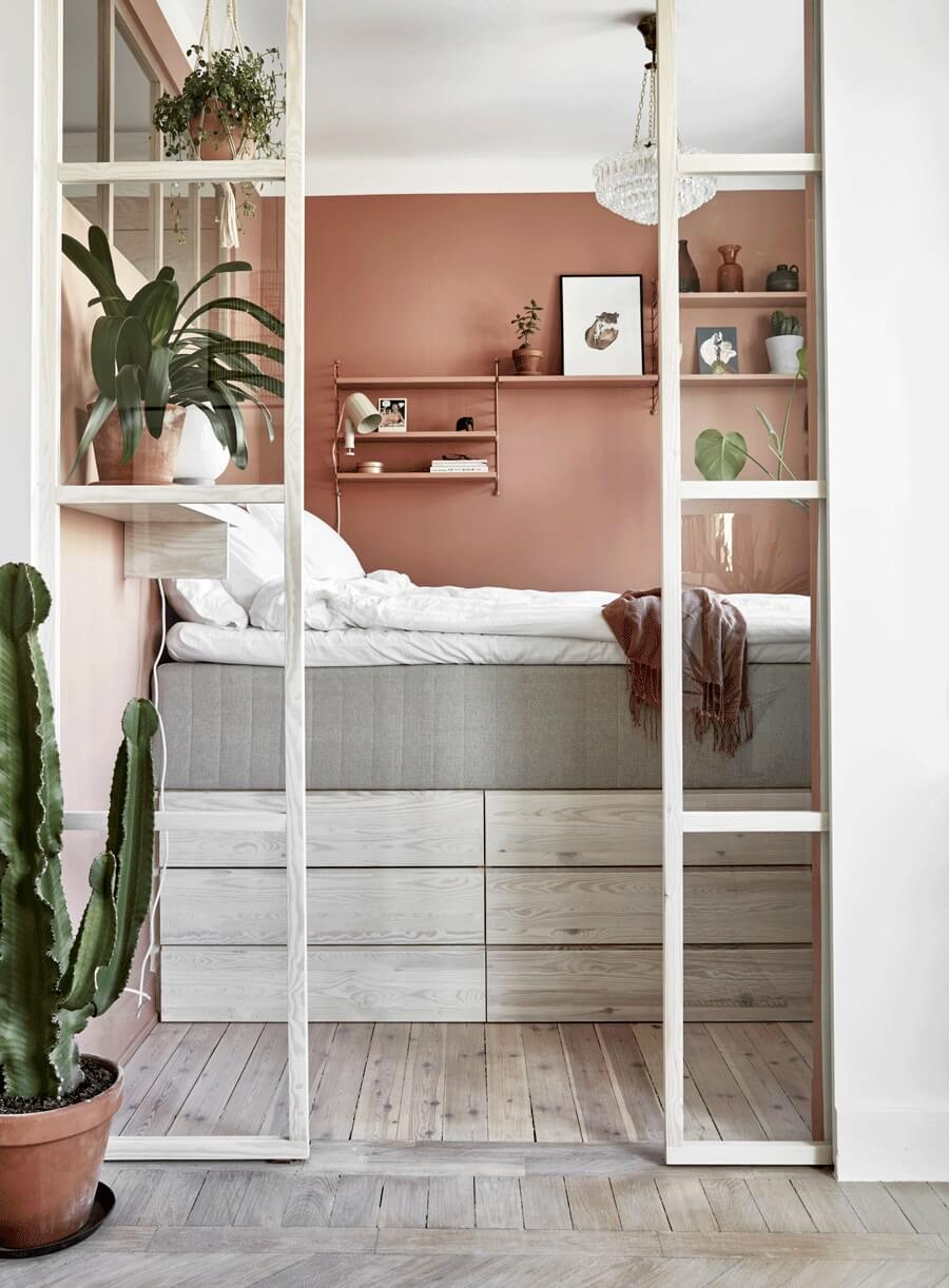 Shades of Pink in A Tiny Stockholm Apartment