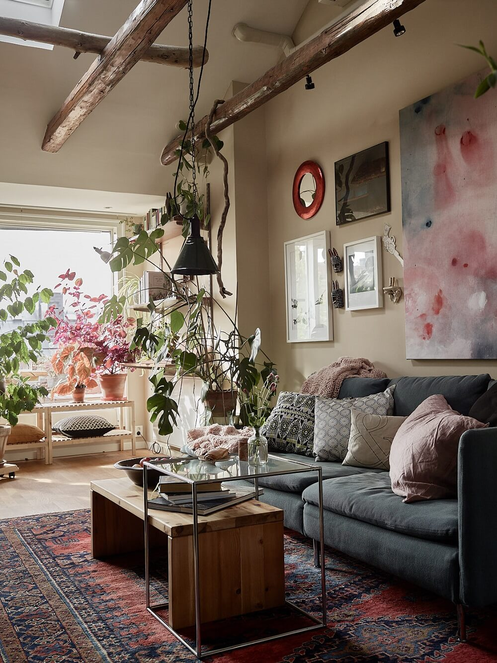 A Cozy Plant-Filled Attic Apartment in Stockholm