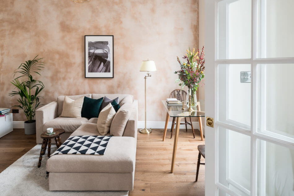 An Elegant Small Pink Apartment in London