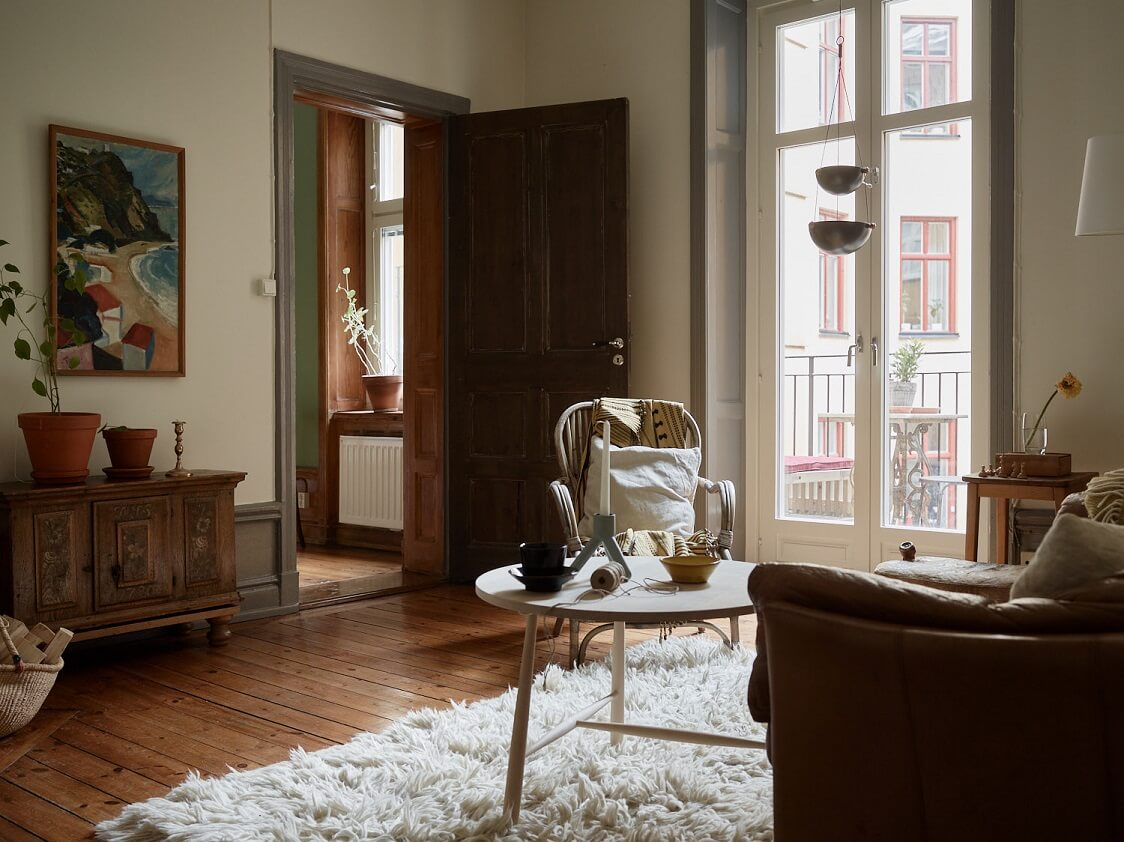 A Charming Scandinavian Apartment with Original Details and Muted Colors