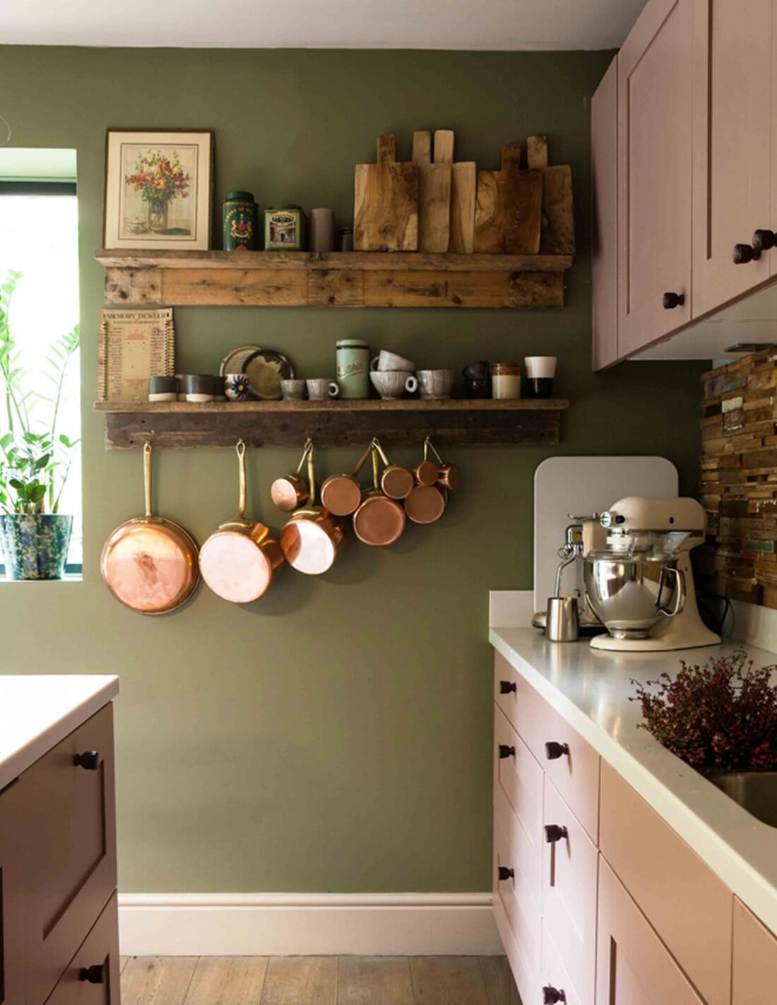 A Vintage Looking Home Decorated in Dusty Colors