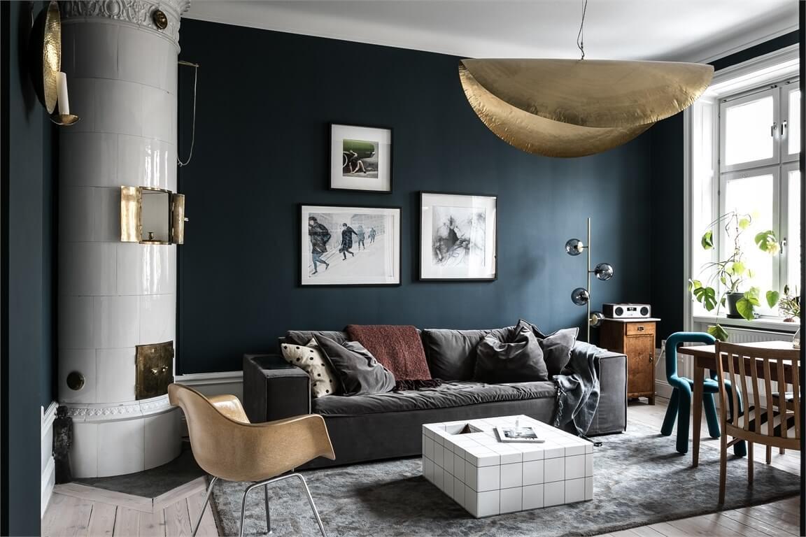 A Small Blue & Pink Scandinavian Apartment