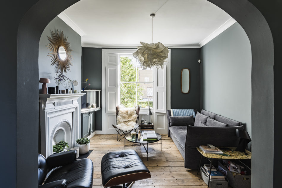 A Blue and Grey London Home with Beautiful Raw Wooden Floors