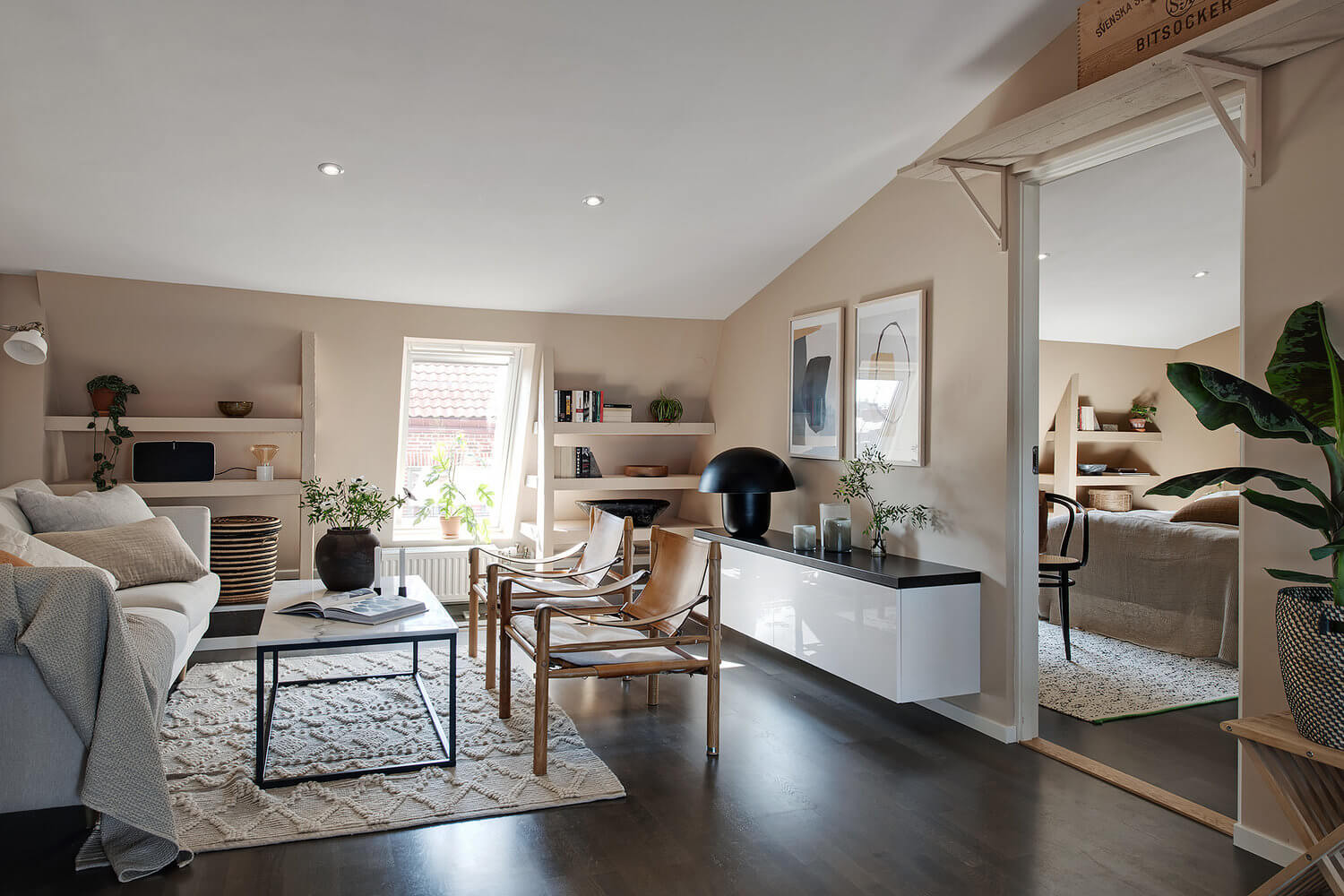 A Scandinavian Attic Apartment Painted in Soft Earthy Tones