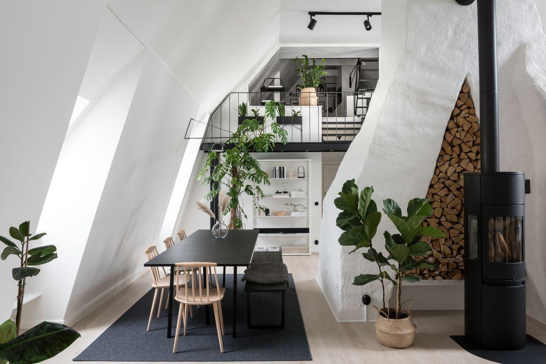 A Monochrome Scandinavian Attic Apartment