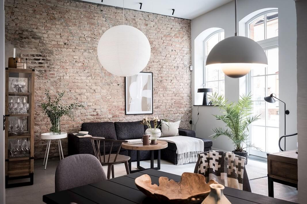 A Lovely Scandinavian Home With Exposed Brick