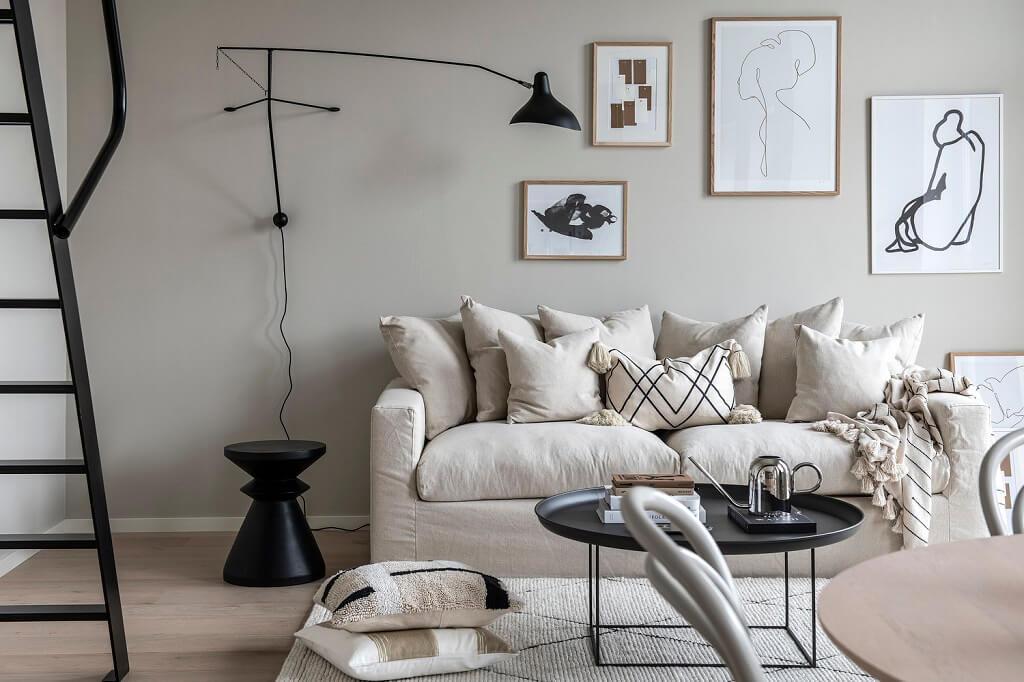A Tiny Scandinavian Loft in Beige and Grey Tones