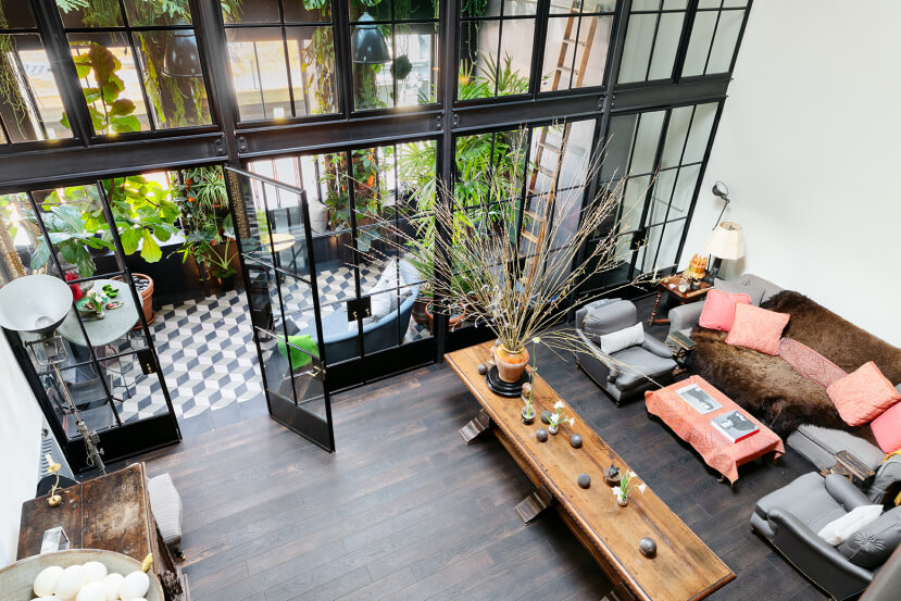 A Plant Lover's Industrial Penthouse Loft in Manhattan