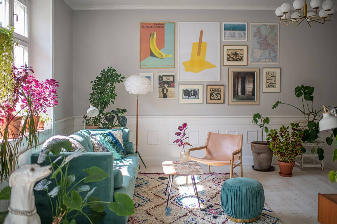 Colorful Touches and Plants in a Scandinavian Apartment