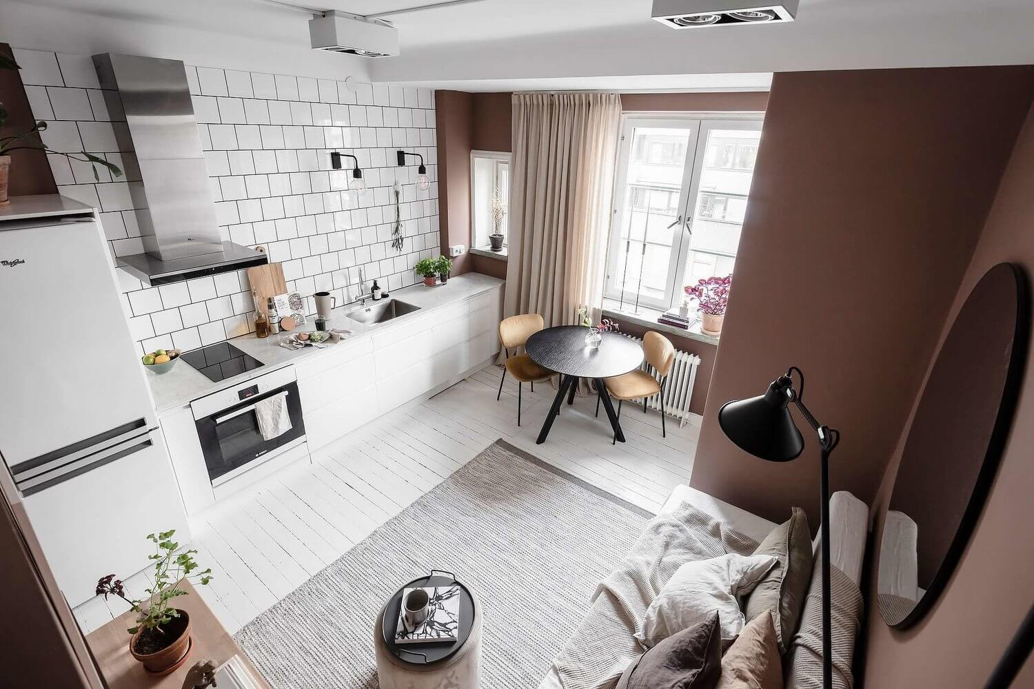 A Tiny Pink Studio Apartment with Loft Bed and Walk in Closet