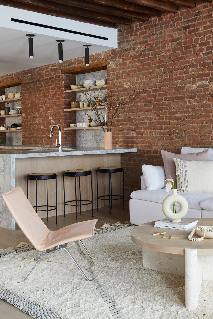 A SoHo Loft with Exposed Brick and Subtle Color Touches