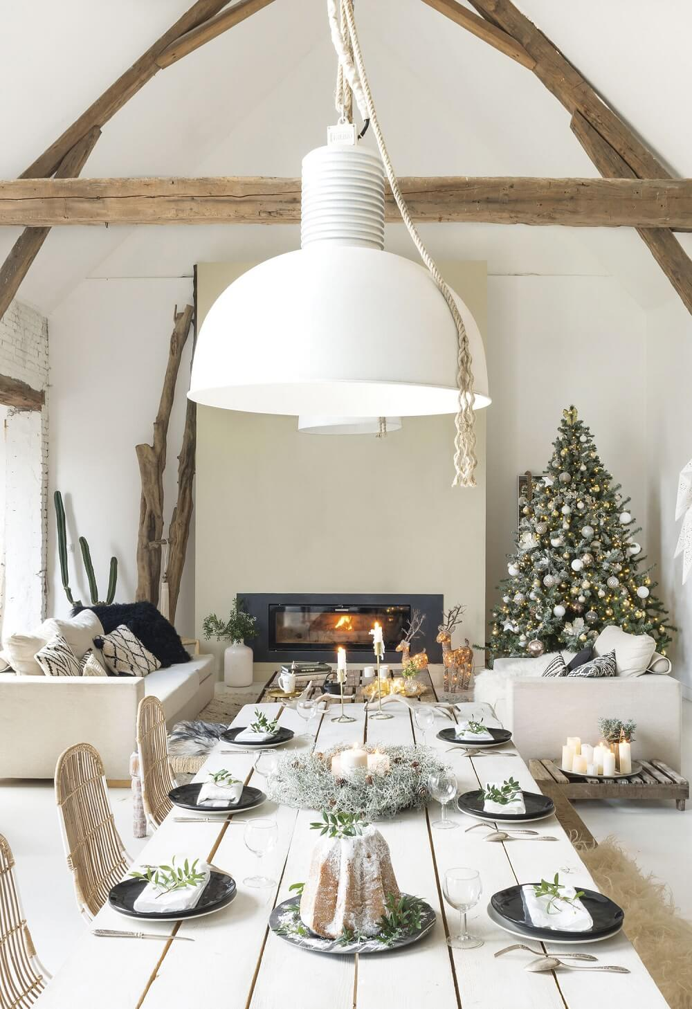 Christmas Decor in a Rustic French Barn Home