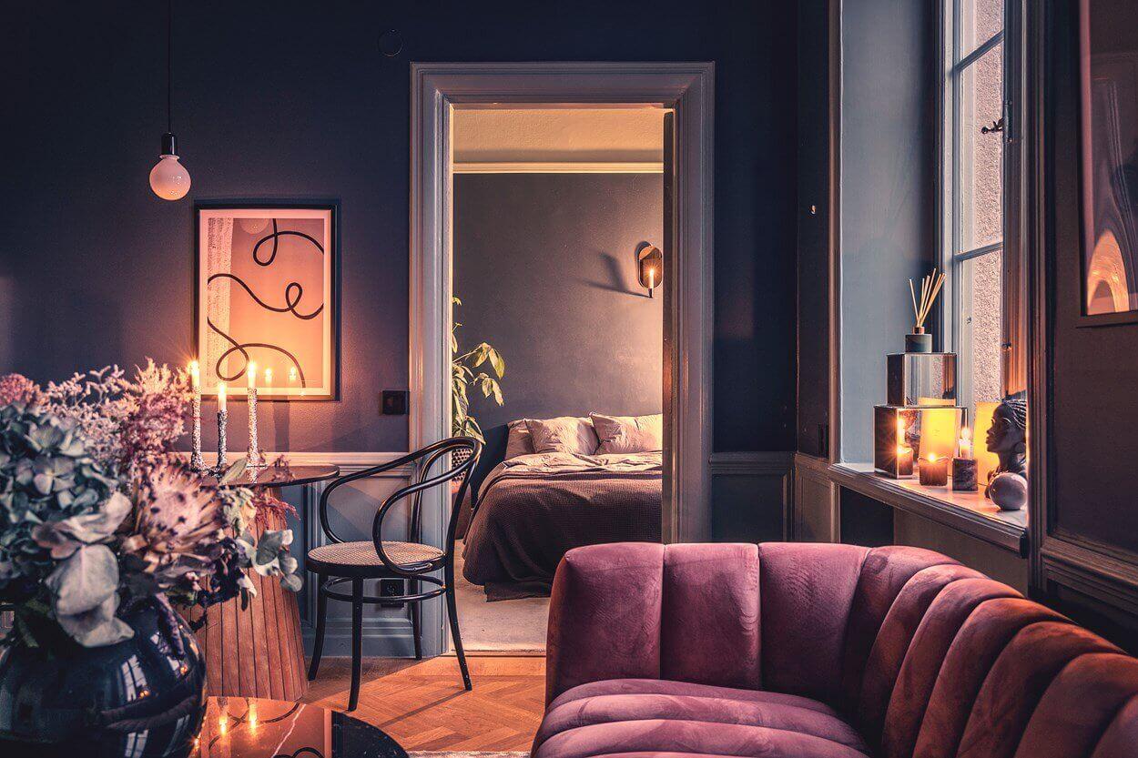 A Small Dark Painted Scandinavian Apartment