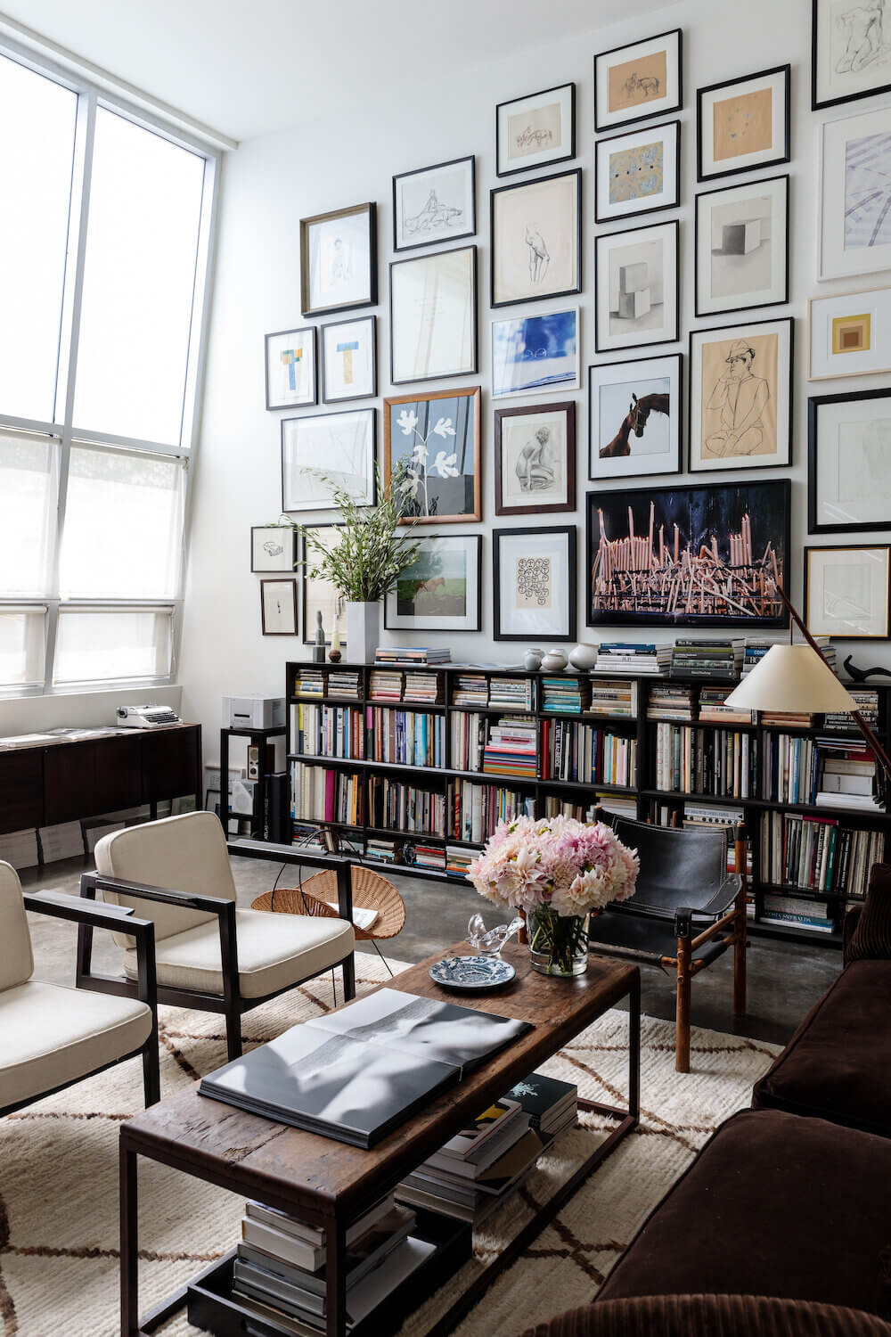 A Light Living Space Filled with Books and Art