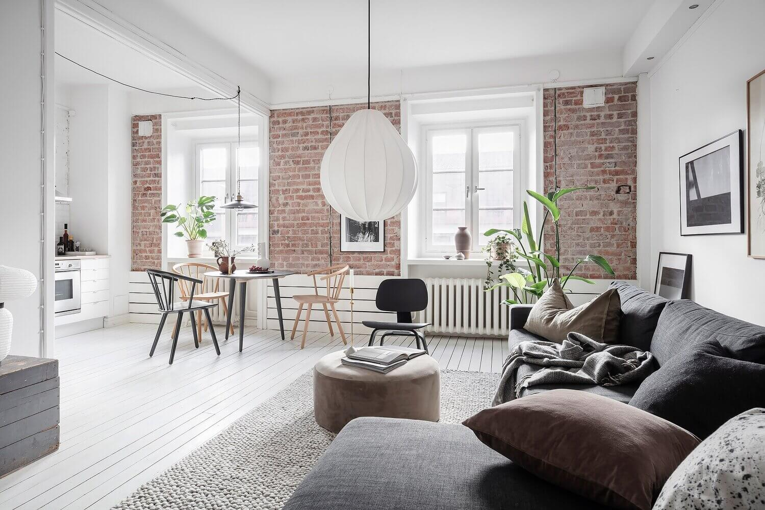 A Bright Scandinavian Apartment with Exposed Brick Walls