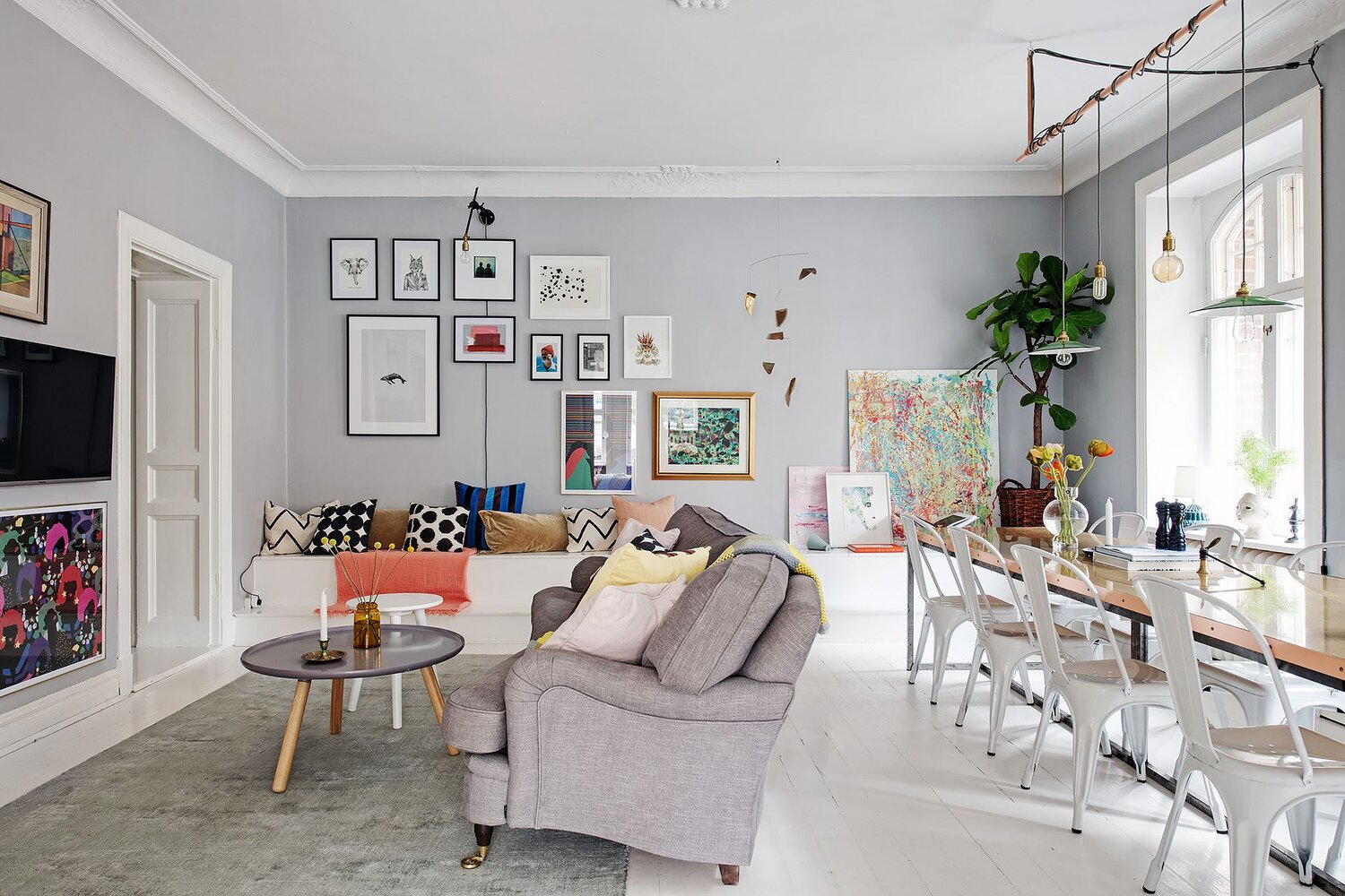 A Scandinavian Apartment Decorated with Bright Pops of Color