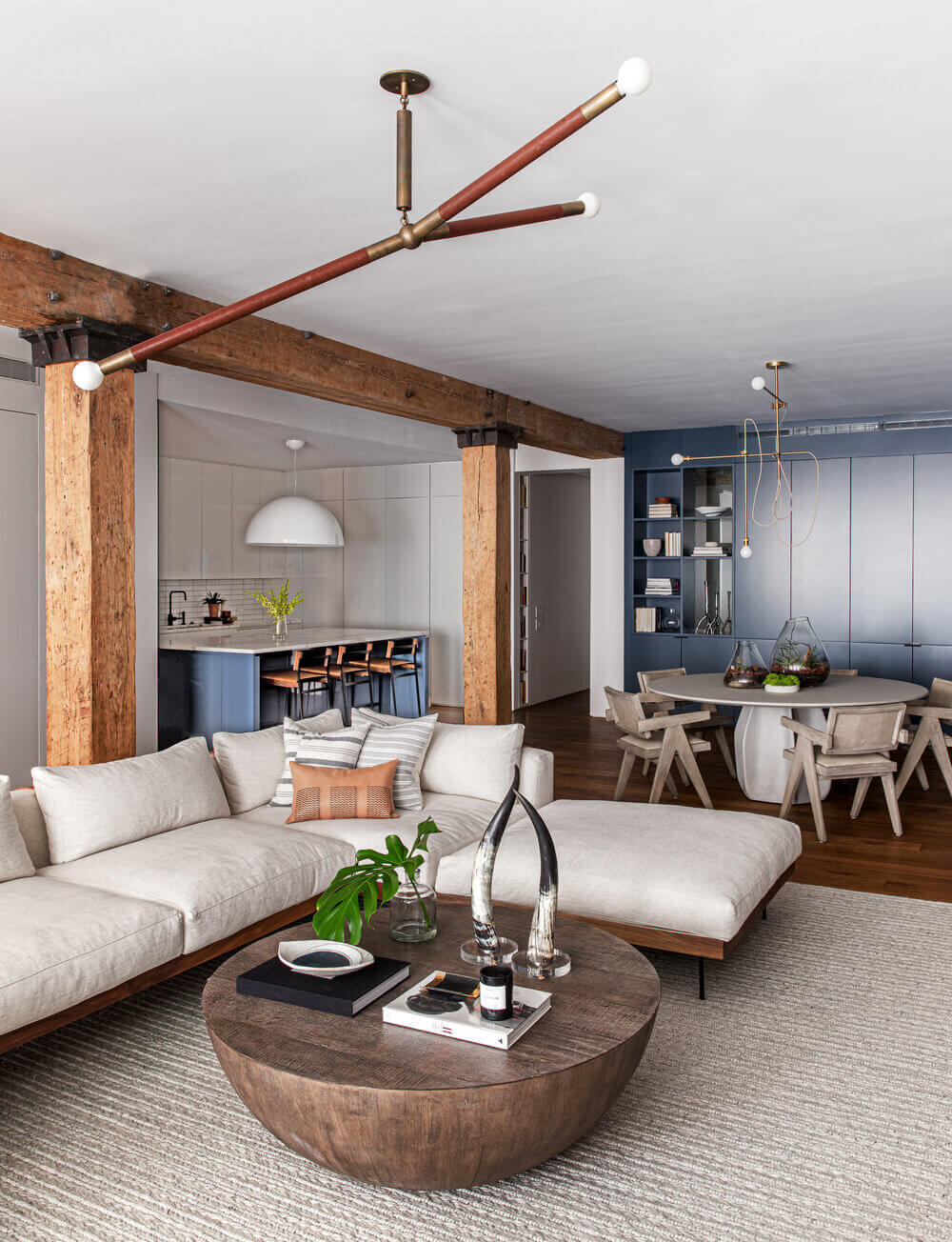 Blue Tones and Exposed Brick in a Tribeca Loft