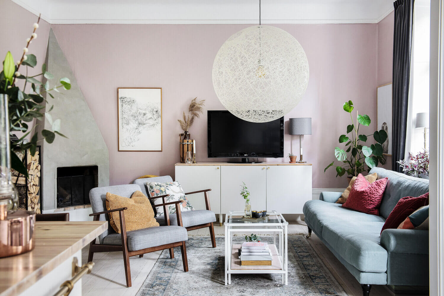 A Bright Pink and Blue Scandinavian Apartment