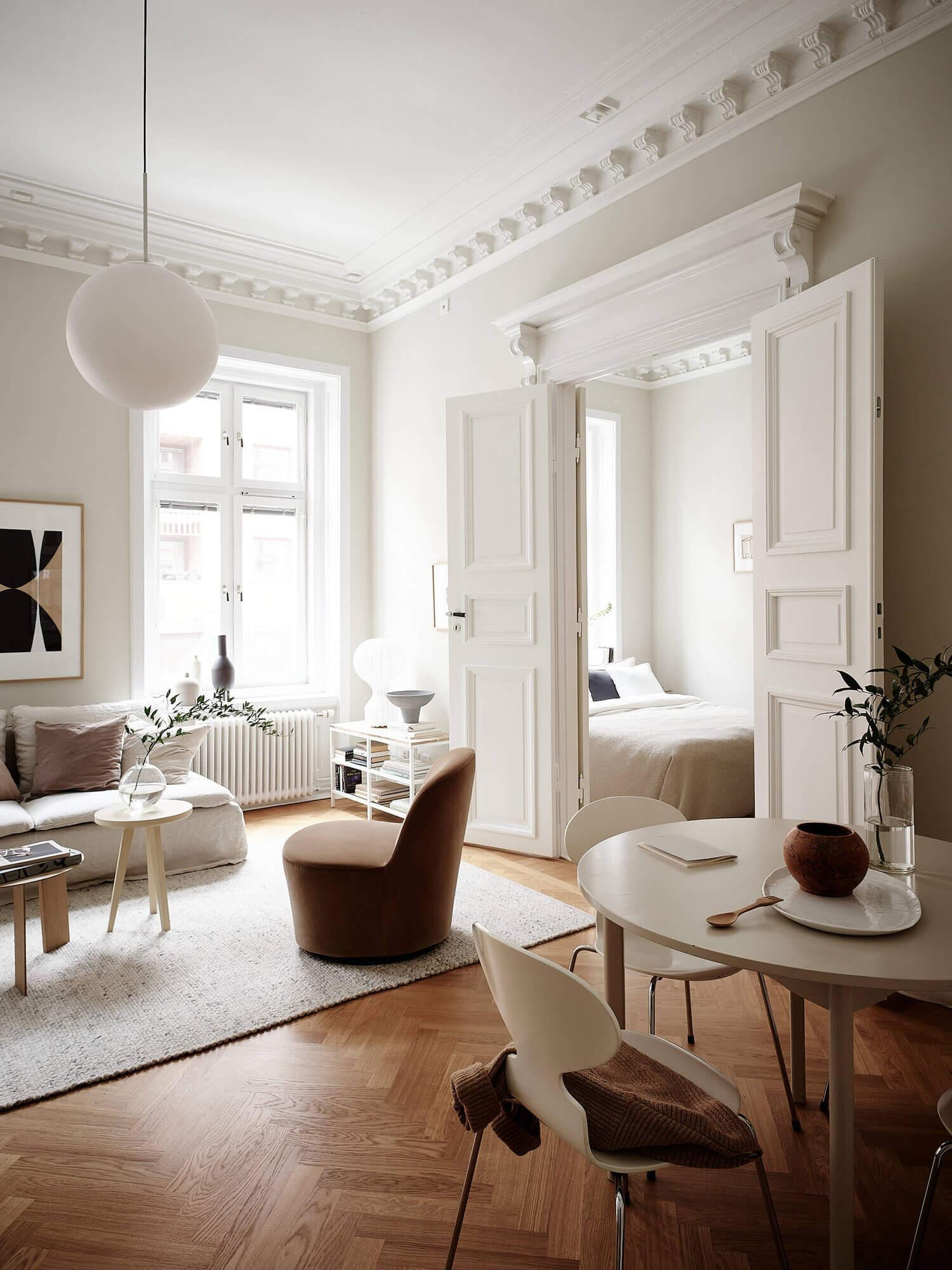 A Serene Beige Apartment with Original Details