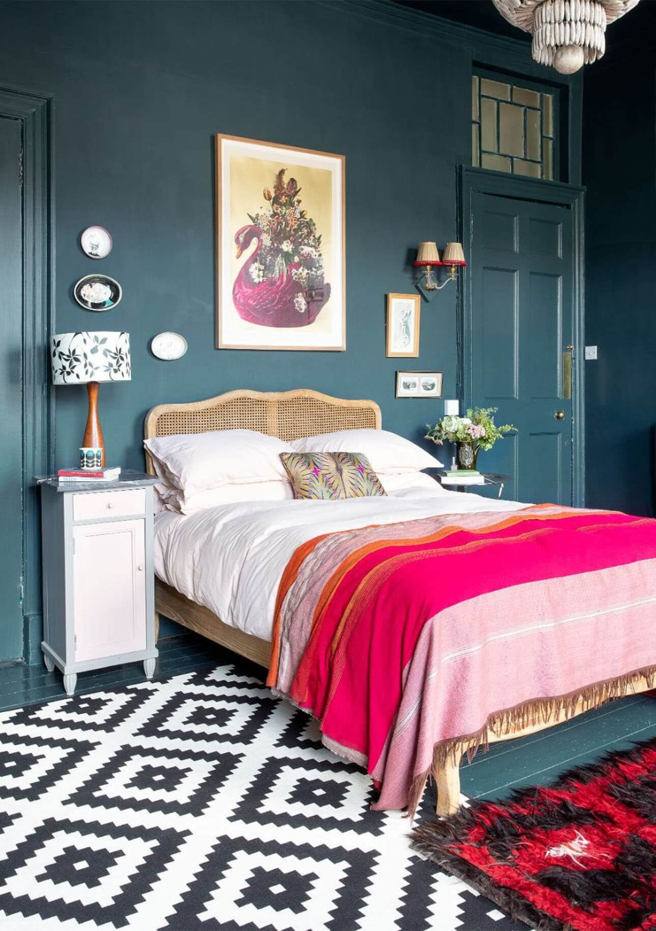 Moody Hues with Bright Color Pops in an Edinburgh Home