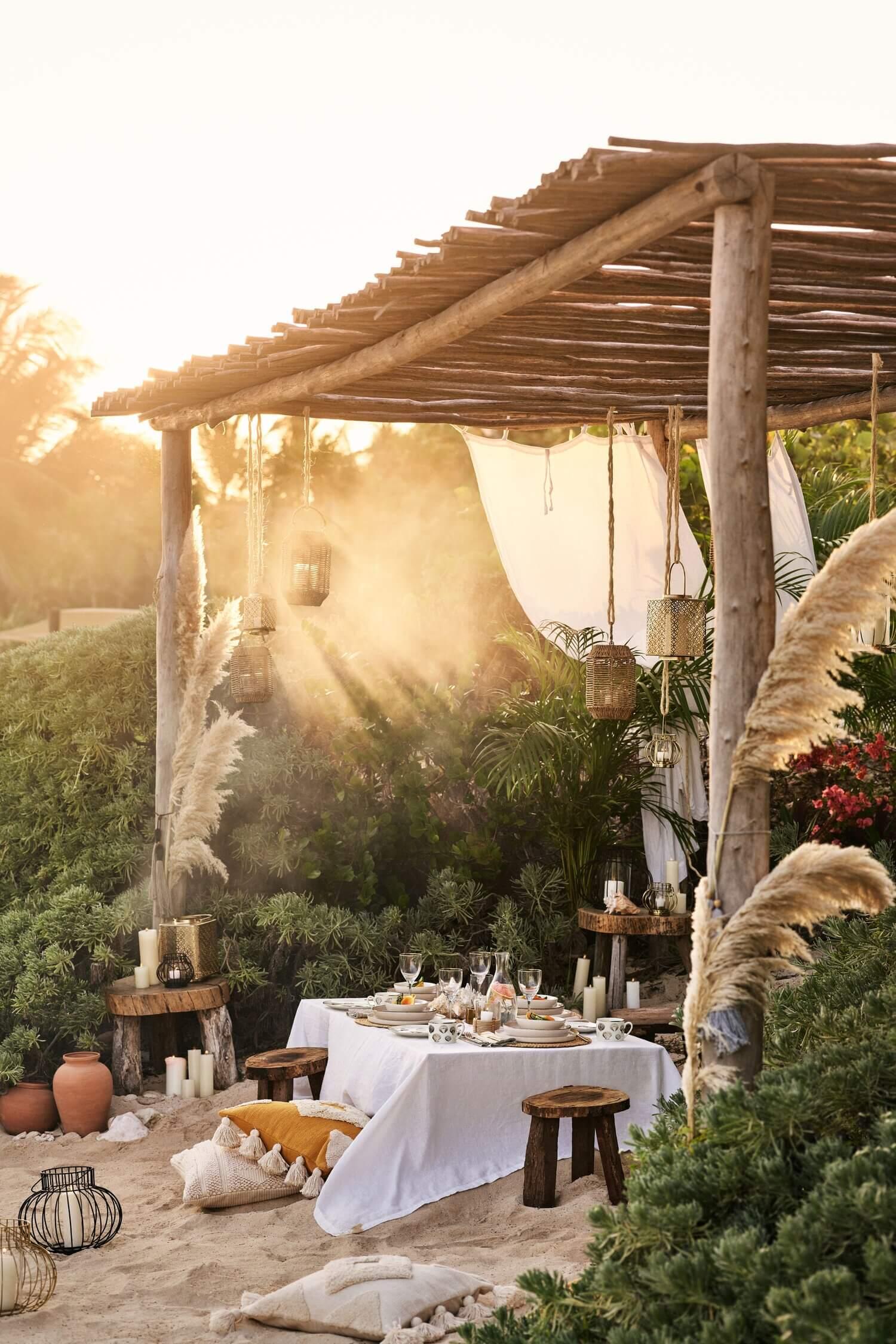 A Beautiful Neutral Bohemian Patio by H&M Home