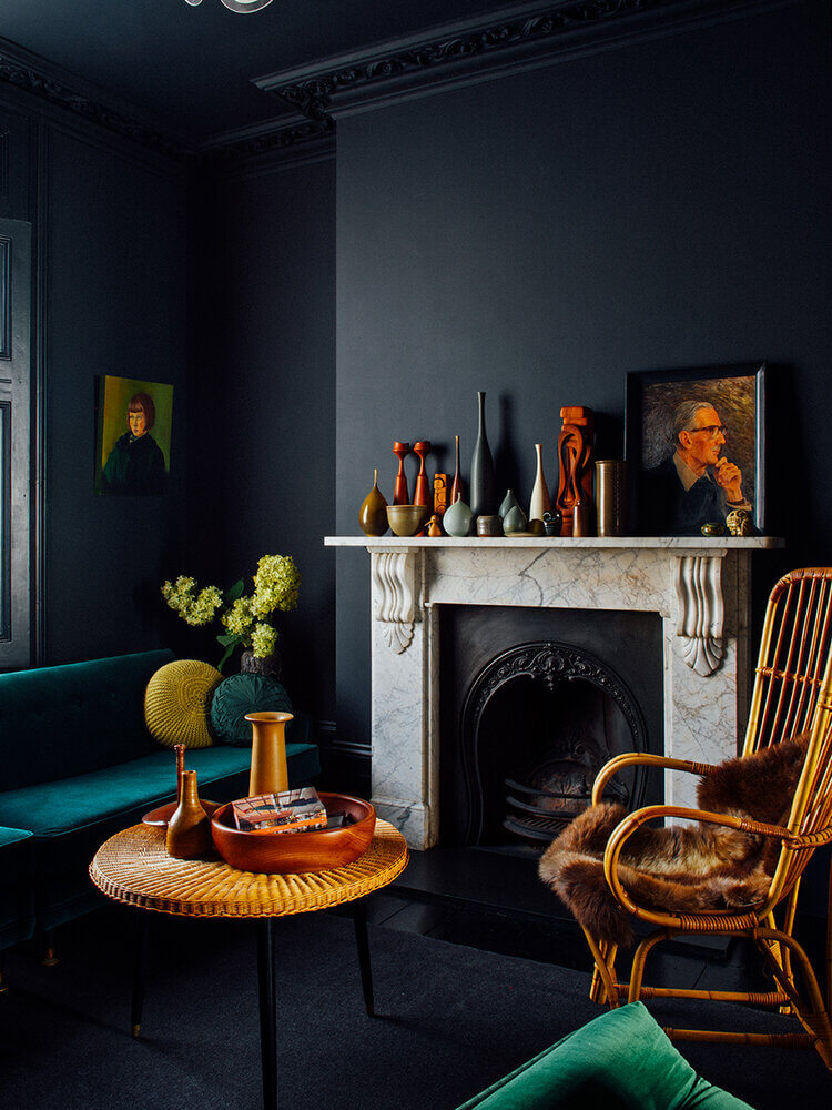 Moody Colors and Mid-Century Design in a Unique Victorian Home