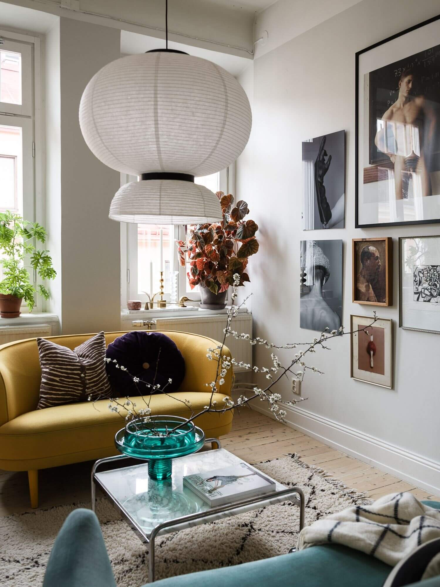 A Small Scandi Apartment with an Art-Filled Living Room