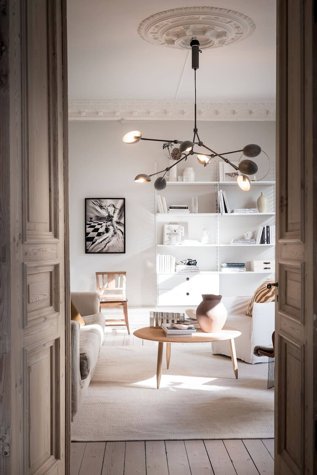 High Ceilings and Original Features In A Stunning Swedish Apartment