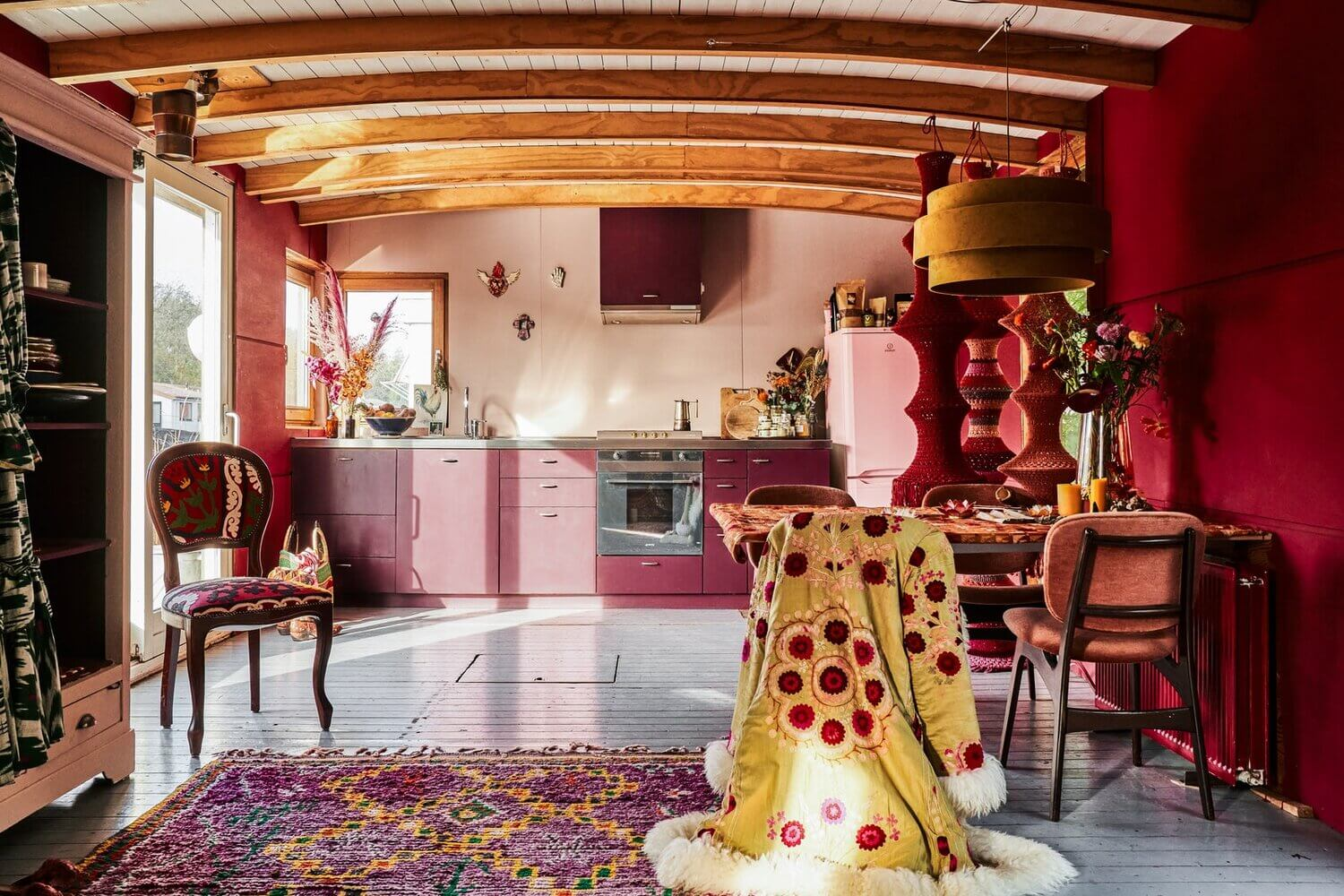 A Pink Textured Houseboat in Amsterdam