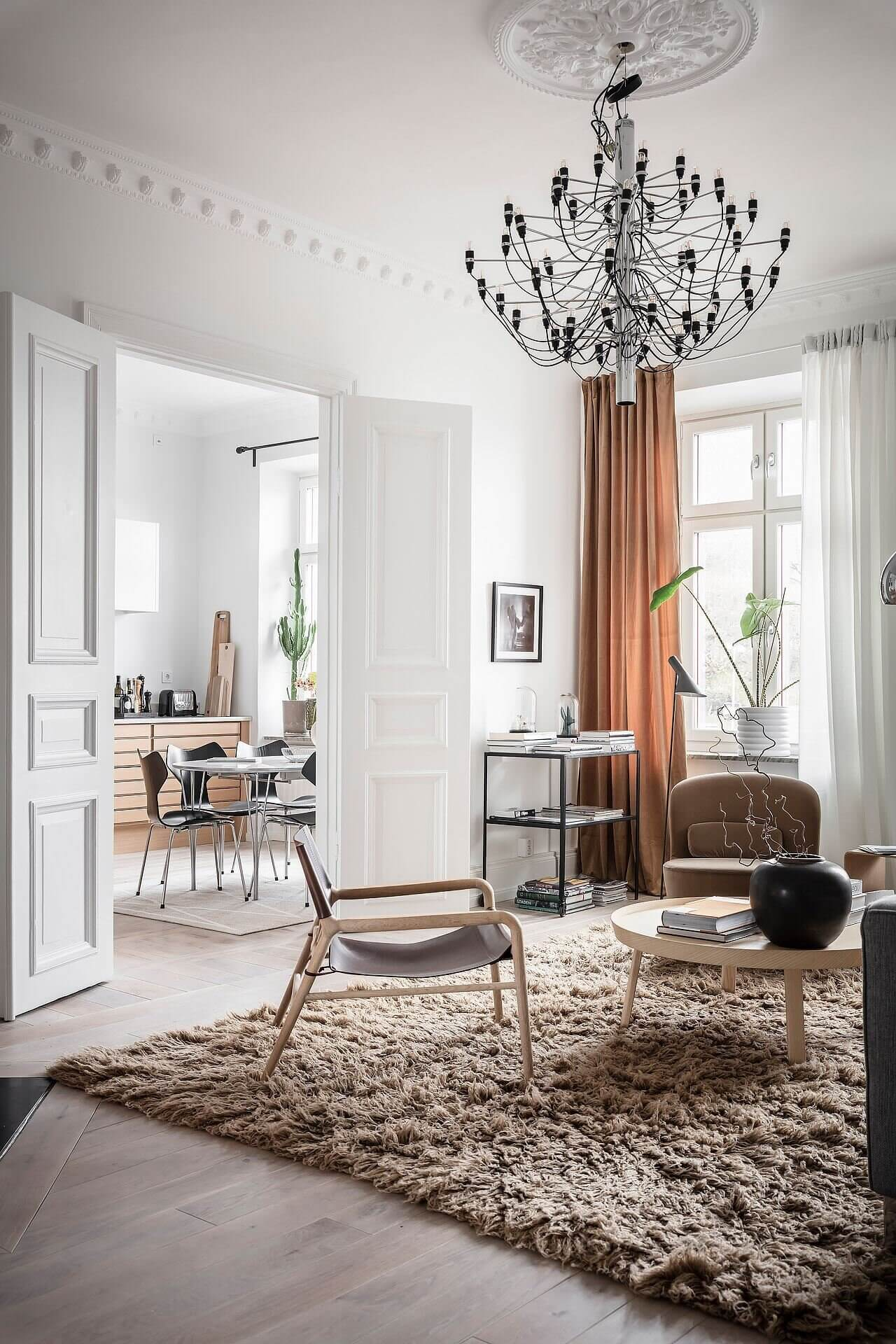 A Scandinavian Apartment with Earthy Color Details