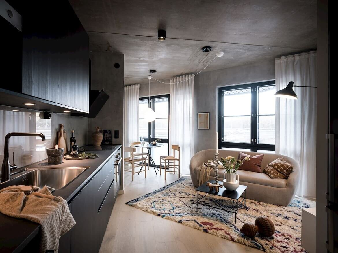 A Small Scandinavian Loft With Industrial Touches