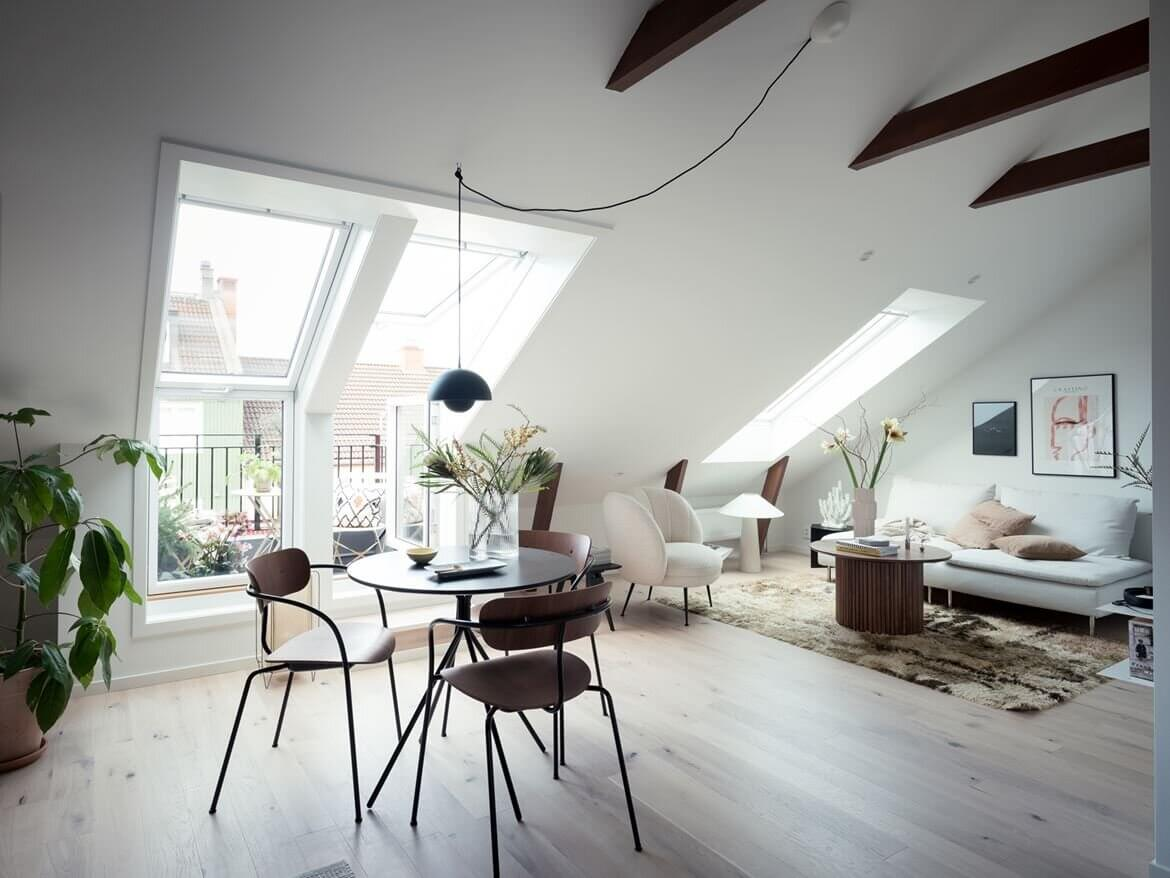 A Small Scandinavian Attic Loft with Exposed Beams