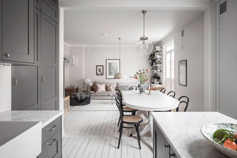 A Stylish White and Grey Scandinavian Apartment