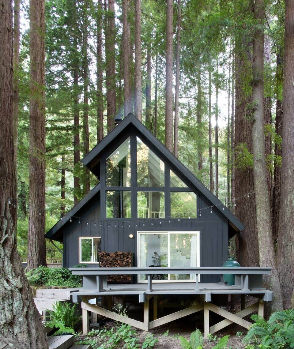 A Black and White A-Frame Cabin in California