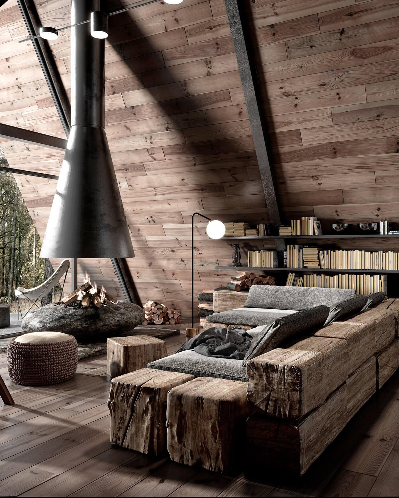A Modern Wooden A-Frame Cabin in Lake Tahoe, California