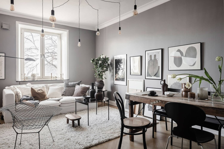 A Lovely Scandinavian Apartment with An Art-Filled Living Room