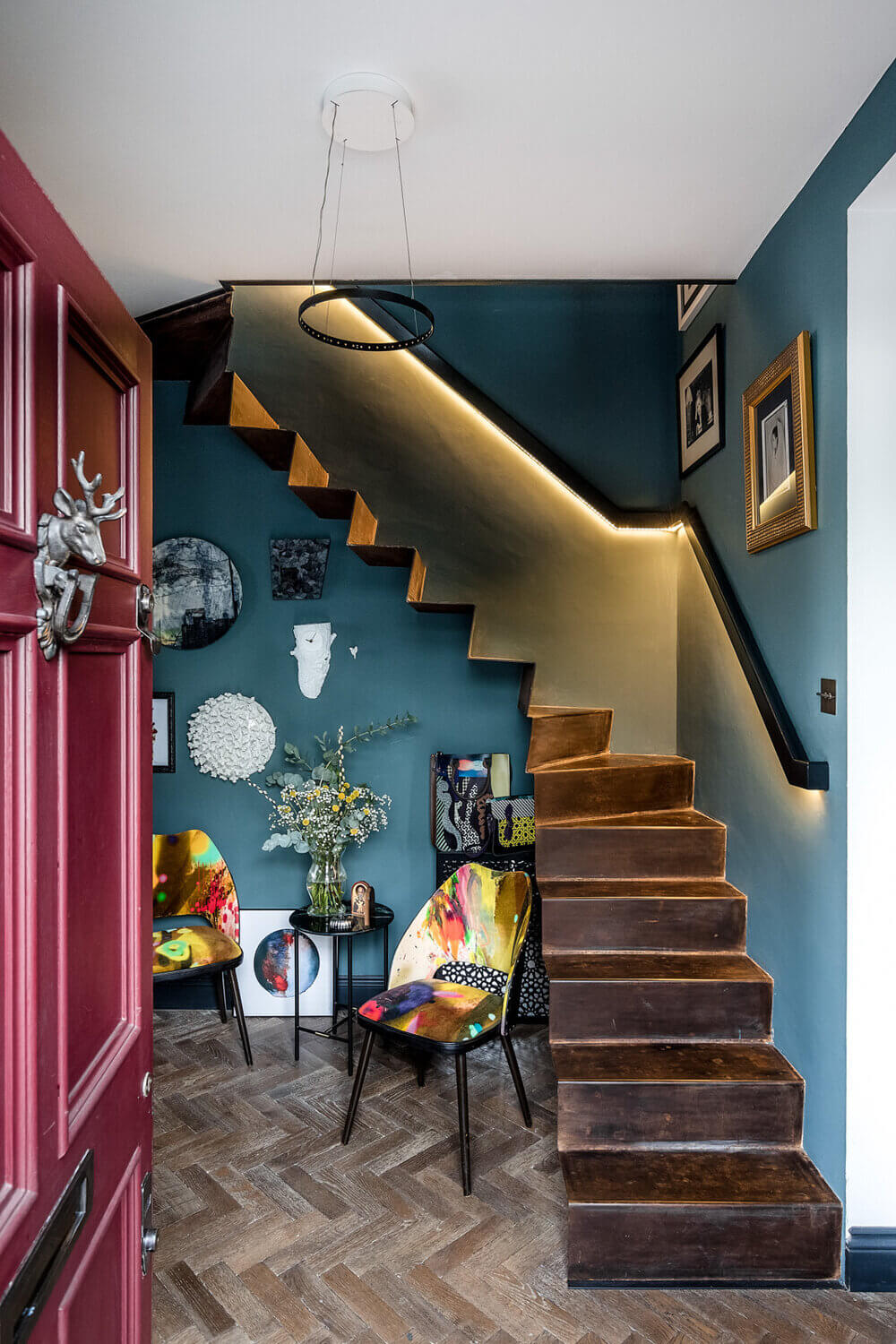 An Eclectic Narrow Blue House in London