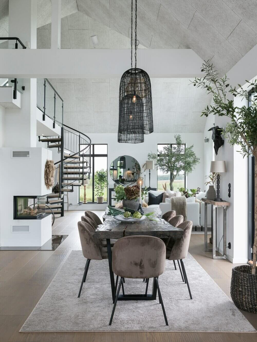 An Open-Plan Scandinavian Home with Double Height Ceilings