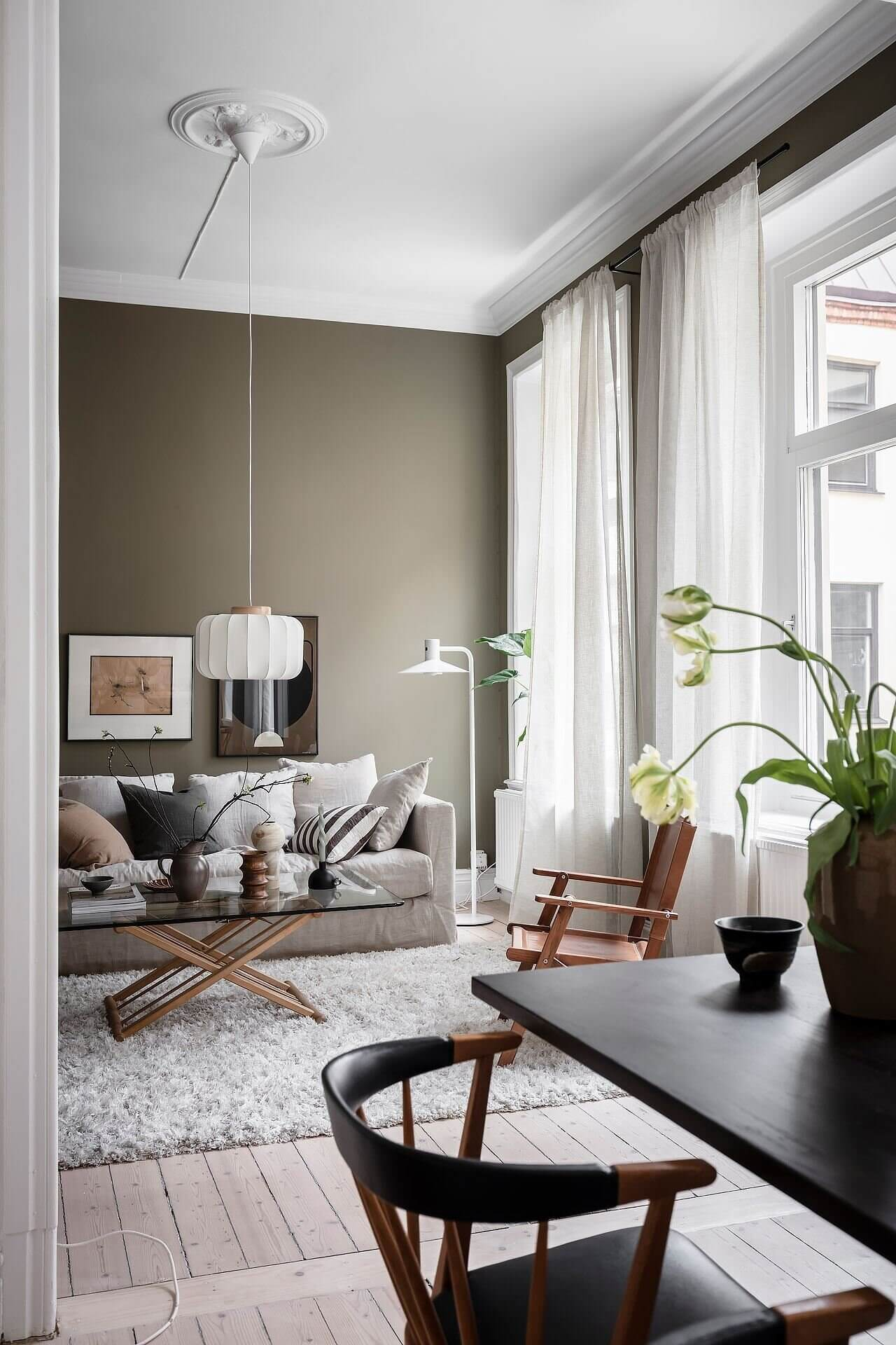 A Scandinavian Apartment With Olive Green Walls