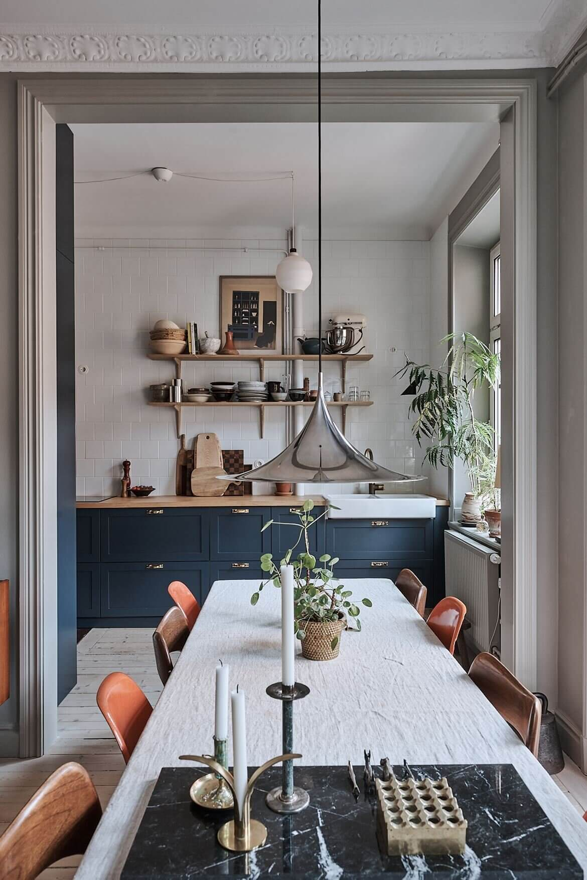 A Vintage Scandinavian Apartment With Dark Blue Bedroom
