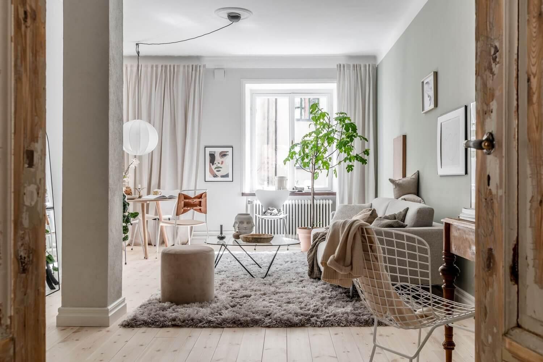 Natural Color Tones in a Charming Scandinavian Apartment