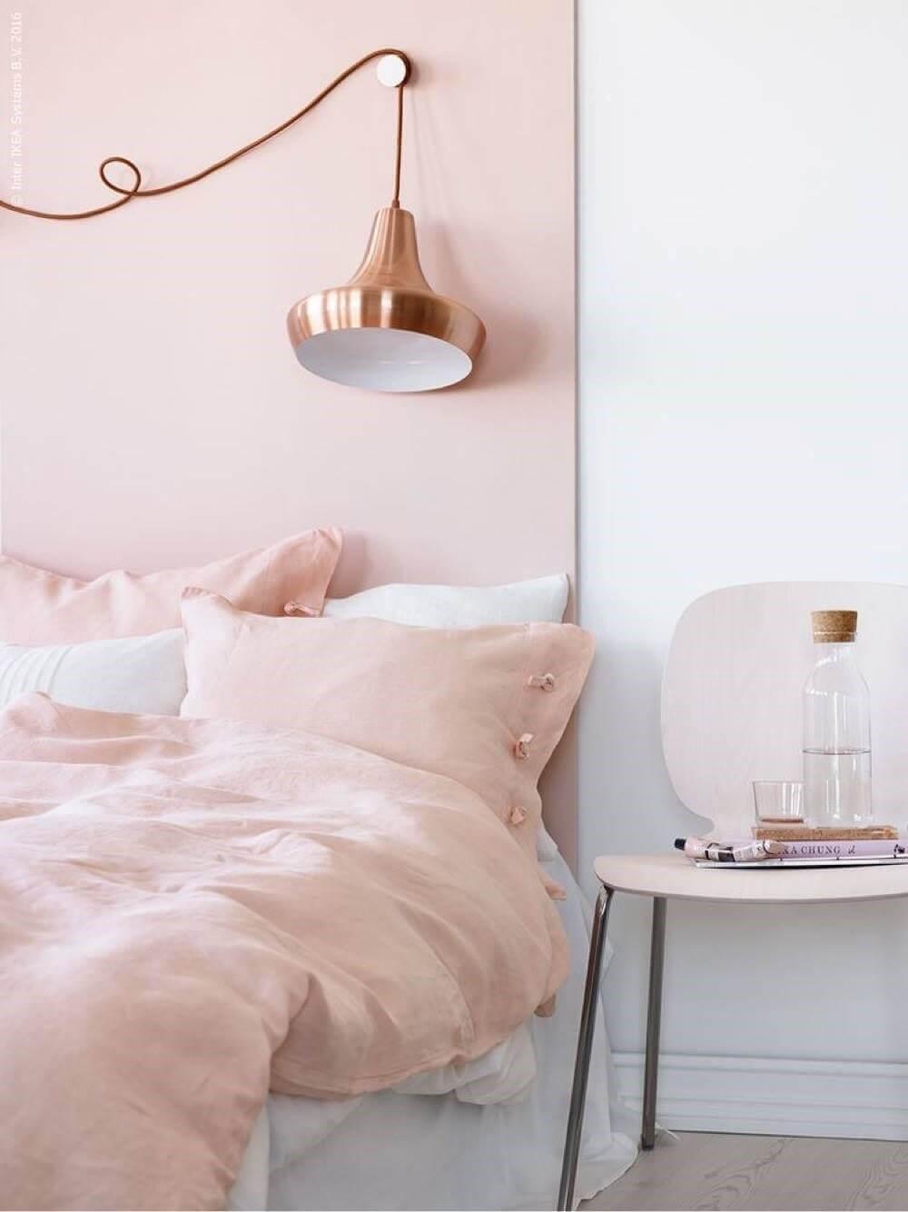 dusty-pink-headboard-copper-lamp-ikea-nordroom