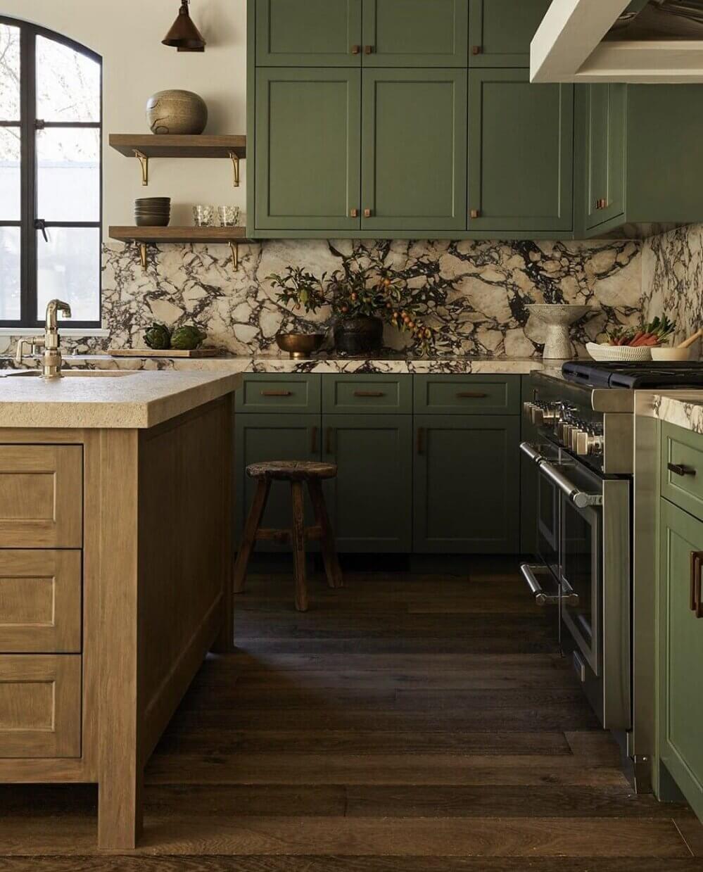 green-kitchen-cabinets-marble-countertop-backsplash-nordroom