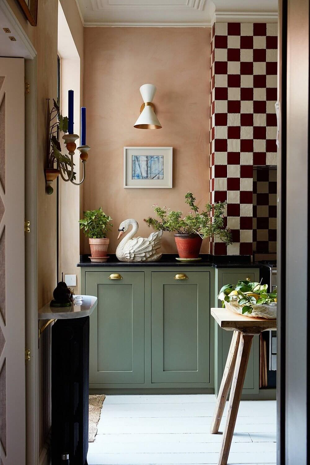 green-kitchen-cabinets-pink-tiles-nordroom2