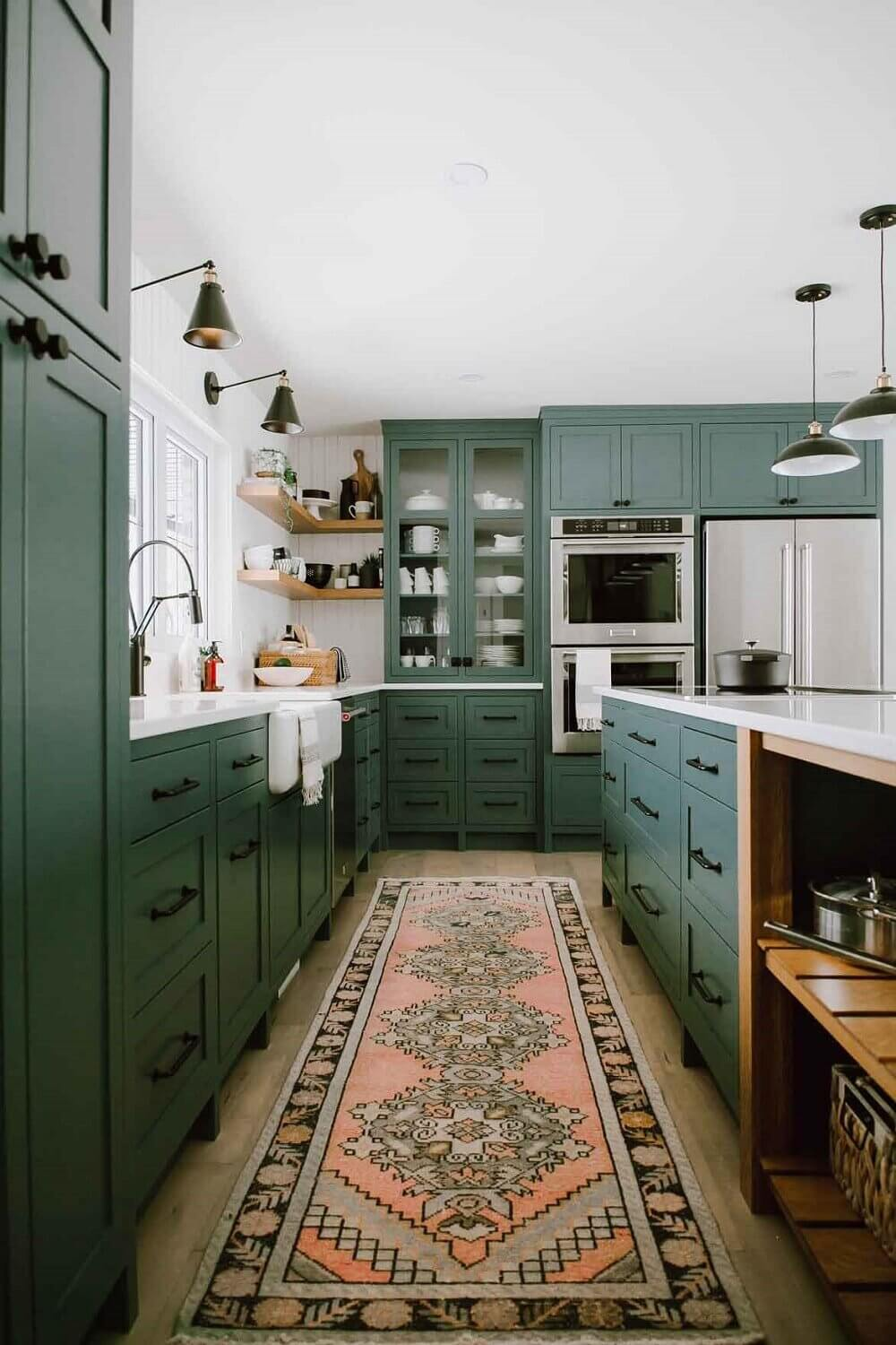 green-kitchen-cabinets-rug-nordroom