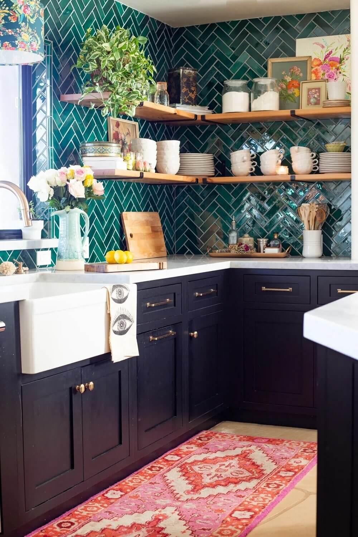 green-kitchen-tiles-herringbone-open-shelves