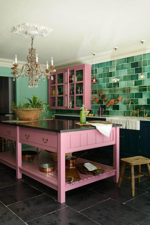 green-kitchen-tiles-pink-kitchen-island-nordroom