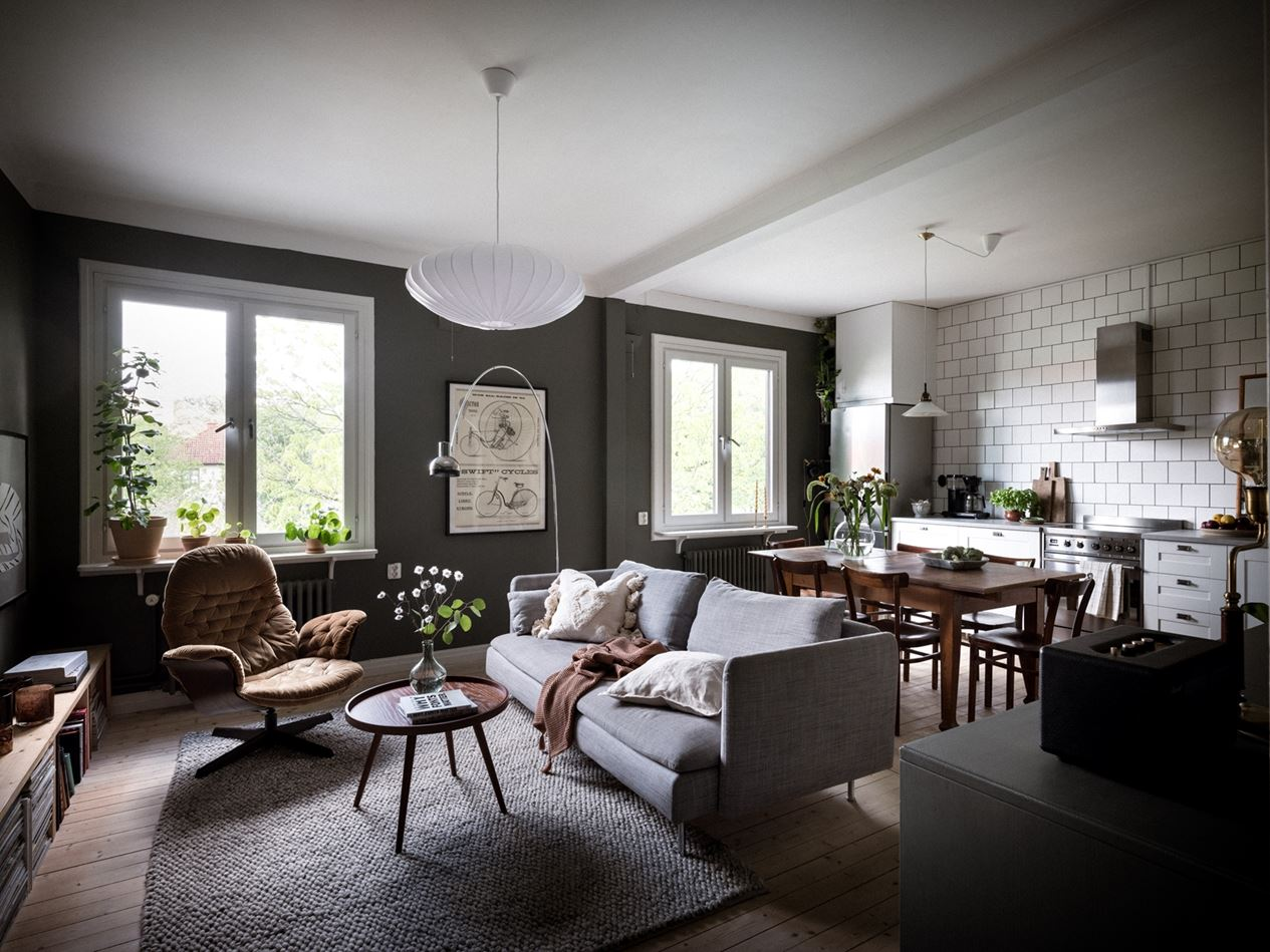 A Moody Green Living Room in a Scandi Apartment